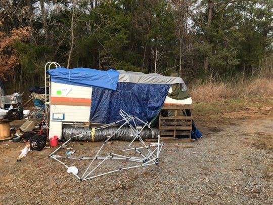 A homeless camp located on Murfreesboro, Tenn., city property is seen in this photo. There are estimated to be about 200 homeless people living in the Baxter County area.