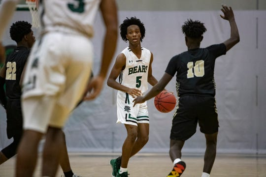Palmetto Ridge's Malique Dieudonne moves the ball up court during their game against Golden Gate, Wednesday, Jan. 8, 2020, at Palmetto Ridge High School.
