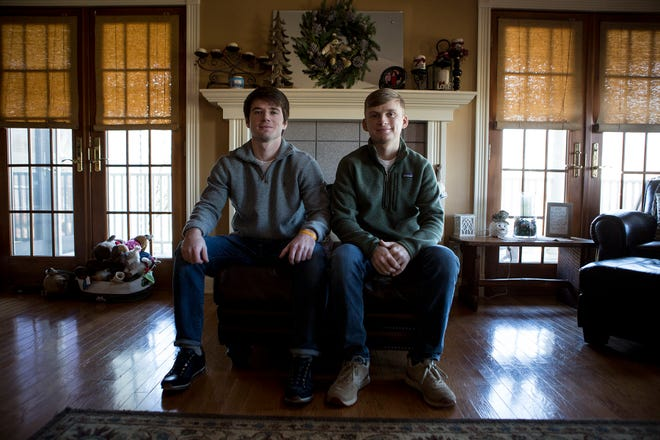 Brothers Bailey and and Griffin Hayden are both recovering from surgery on winter break from Denison University. Bailey (left) donated his kidney to his younger brother, Griffen, (right). Griffin was suffering from kidney failure as a result of treatment from Leukemia he beat twice as a child.