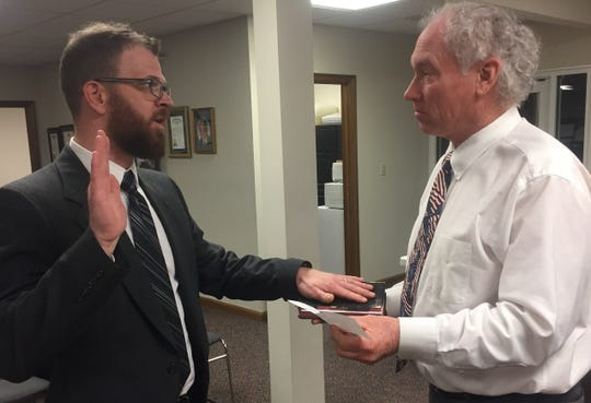 Dustin Epperson was the first of nine potential candidates selected to fill one of two vacant Pataskala City Council seats at a special Jan. 8 meeting.