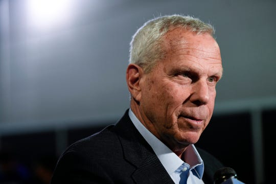 New York Giants co-owner Steve Tisch talks to reporters after the press conference introducing new head coach Joe Judge (not pictured) at MetLife Stadium on Thursday, Jan. 9, 2020, in East Rutherford.
