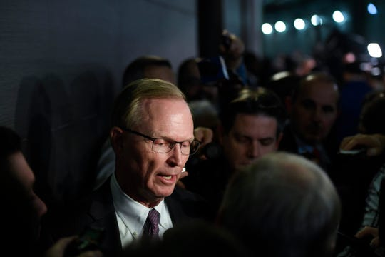 New York Giants CEO John Mara talks to reporters after the press conference introducing new head coach Joe Judge (not pictured) at MetLife Stadium on Thursday, Jan. 9, 2020, in East Rutherford.