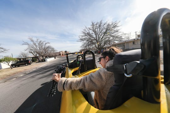 Steve Braithwaite shows off his custom-built Big Banana Car and offers rides for charity in Las Cruces on Wednesday, Jan. 8, 2019.