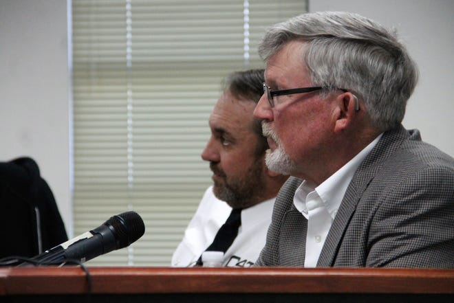 Current Otero County Commissioner Gerald Matherly, right, was named Otero County Commission chairman at the regular Otero County Commission meeting Jan. 9.  Otero County Commissioner Couy Griffin, left, served as commission chairman during 2019.