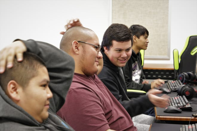 Bond Wilson Technical Center students from left to right; Julius Smith, Lance Clyde, Kenzie Cook and Martin Charley play the esports game League of Legends during Bond Wilson's esports team tryout on Jan. 8, 2020 at Bond Wilson Technical Center in Kirtland.