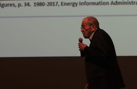 New Mexico State University economist Jim Peach discussed state trends, Wednesday, Jan. 8, 2020, during the Northwest Regional Economic Outlook Forum at San Juan College in Farmington.