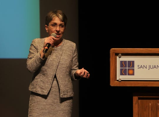 Rachel Moskowitz, bureau chief of the Economic Research and Analysis Bureau at the New Mexico Department of Workforce Solutions, speaks, Wednesday, Jan. 8, 2020, during the Northwest Regional Economic Outlook Forum at San Juan College.