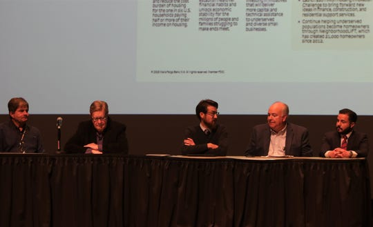 Larry Hathaway, Ken Hare, Warren Unsicker, Rob Mayes and Steven Saavedra participated in a panel of local officials, Wednesday, Jan. 8, 2020, during the Northwest Regional Economic Outlook Forum at San Juan College in Farmington.