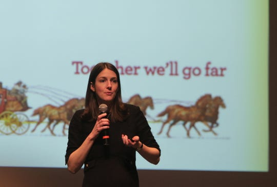 Sarah House, a director and senior economist with Wells Fargo Securities, speaks about national economic trends, Wednesday, Jan. 8, 2020, during the Northwest Regional Economic Outlook Forum at San Juan College in Farmington.