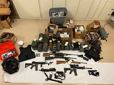 A cache of weapons, ammo and body armor were seized Tuesday from a Coachella home.