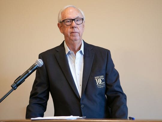 John Foster, president of Desert Classic Charities, speaks during an event where the group gave money to charities in the Coachella Valley at the Classic Club in Palm Desert, January 7, 2020.