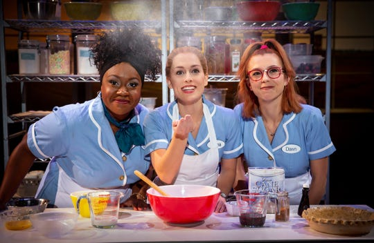 """Kennedy Salters as Becky, Bailey McCall as Jenna, and Gabriella Marzetta as Dawn in """"Waitress,"""" which debuts Jan. 15 and 16 at Saenger Theatre."""