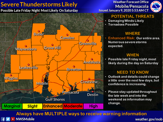 """The Northwest Florida region is under an """"enhanced risk"""" for severe thunderstorms Saturday. The National Weather Service of Mobile expects those storms to taper off by Saturday evening."""