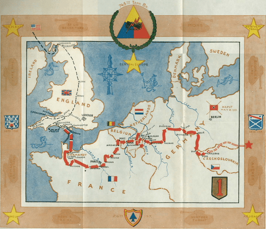 A map shows the movement of the 745th Tank Battalion during World War II. David Houck joined the battalion in September 1944 in the German city of Aachen, located near the center of the map.