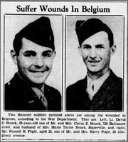 A photo of David Houck (left) appeared on the front page of the Saturday, January 13, 1945 edition of the Evening Sun, a few weeks after he was injured.