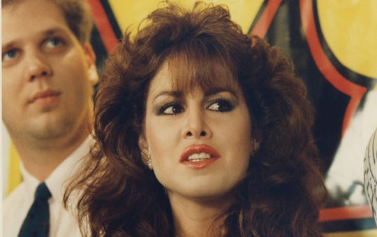 Jessica Hahn at a press conference announcing her stint as a morning talk show host in 1988.