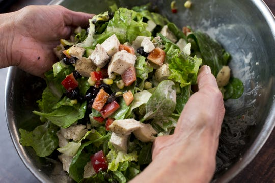 A Cobb salad with creamy chipotle-ranch dressing is made at chef Robin Miller's home in Scottsdale on Jan. 8, 2020.