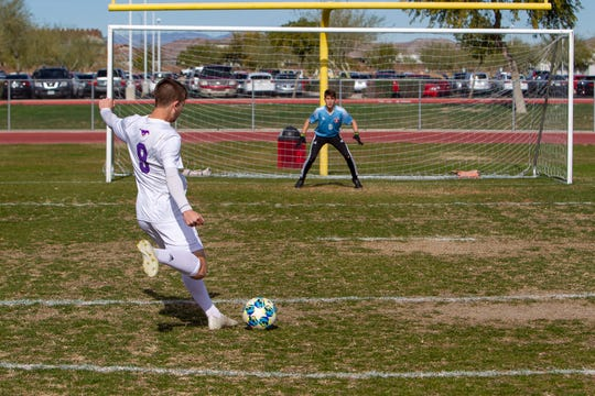 Alexander Huguez, a forward at Sunrise Mountain High School, and Matthew Huguez, a goal keeper at Liberty High School will play each other in soccer this week. Jan 7, 2020. Carly Bowling/The Republic.