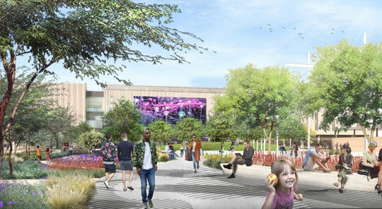 A rendering of the ASU building from the public plaza.