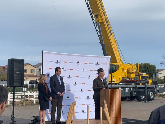 Joe Johnston, local entrepreneur and founder of Johnston and Co., speaks at Epicenter's groundbreaking in Agritopia on Jan. 9, 2020. To his left are Maricopa County Supervisor Steve Chucri and Gilbert Mayor Jenn Daniels.