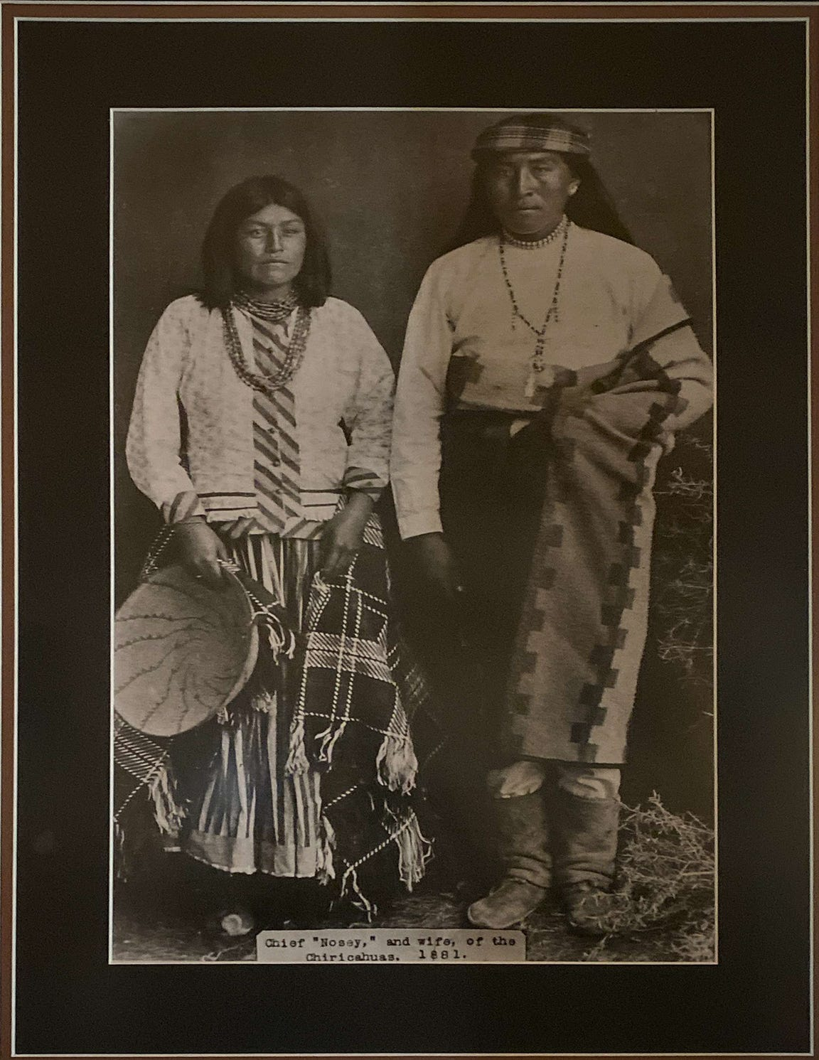 Chief Nosey of the Chiricahua and his wife in 1881. Nosey is the great-grandfather of Apache environmental activist Wendsler Nosie, Sr.