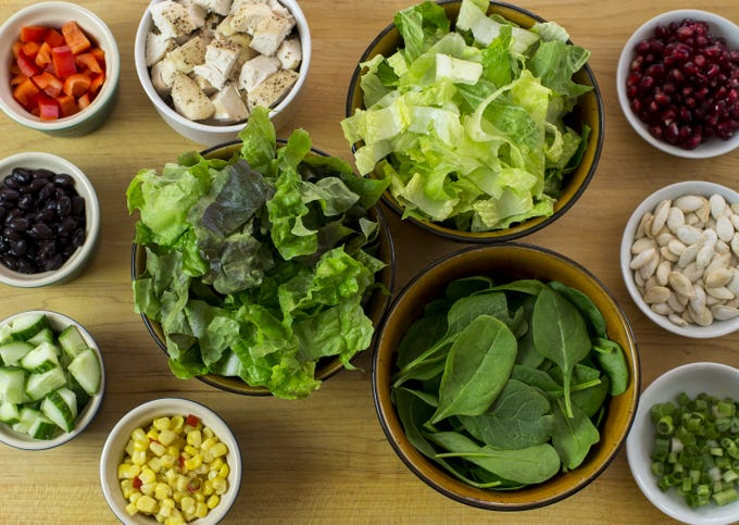 <strong>Ingredients for Southwest Salad:</strong><br /> 2 cups chopped romaine or crisp lettuce of choice<br /> 2 cups chopped red lettuce<br /> 1 cup baby spinach leaves<br /> Salt and freshly ground black pepper<br /> 2 cups cubed cooked chicken&nbsp;<br /> 1 red bell pepper, seeded and chopped&nbsp;<br /> 1 cup chopped cucumber<br /> 1/2 cup canned seasoned black beans<br /> 1/2 cup canned Mexicorn (Mexican-style corn with red and green bell peppers)<br /> 1/4 cup roasted pumpkin seeds<br /> 1/4 cup fresh pomegranate seeds<br /> 1/4 cup chopped green onions