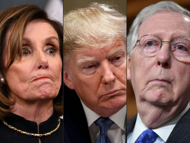 U.S. House Speaker Nancy Pelosi, left, President Donald Trump and Senate Majority Leader Mitch McConnell. Trump faces an article of impeachment in the House for incitement of insurrection, related to the riots and attempted takeover of the U.S. Capitol on Jan. 6., 2020.