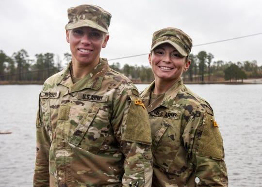 Sgt. Danielle Farber, left, with U.S. Army Staff Sgt. Jessica Smiley of South Carolina, in Fort Benning, Georgia after graduating U.S. Army Ranger School in December.