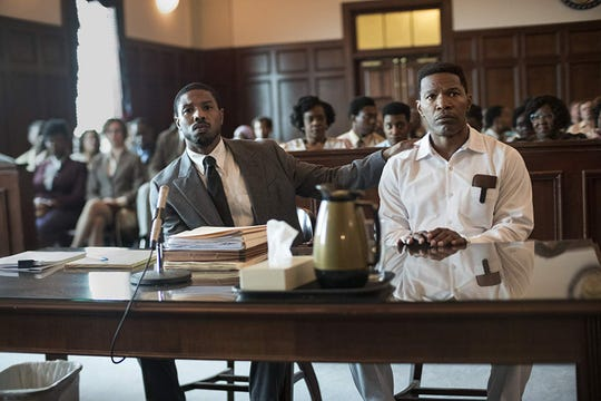 """Michael B. Jordan, left, and Jamie Foxx star in """"Just Mercy."""" The movie is playing at Regal West Manchester, Queensgate Movies 13 and R/C Hanover Movies 16."""