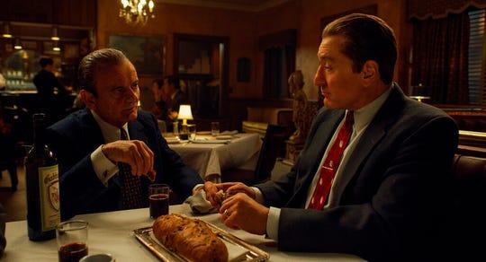 "Joe Pesci, left, and Robert De Niro star in ""The Irishman."""