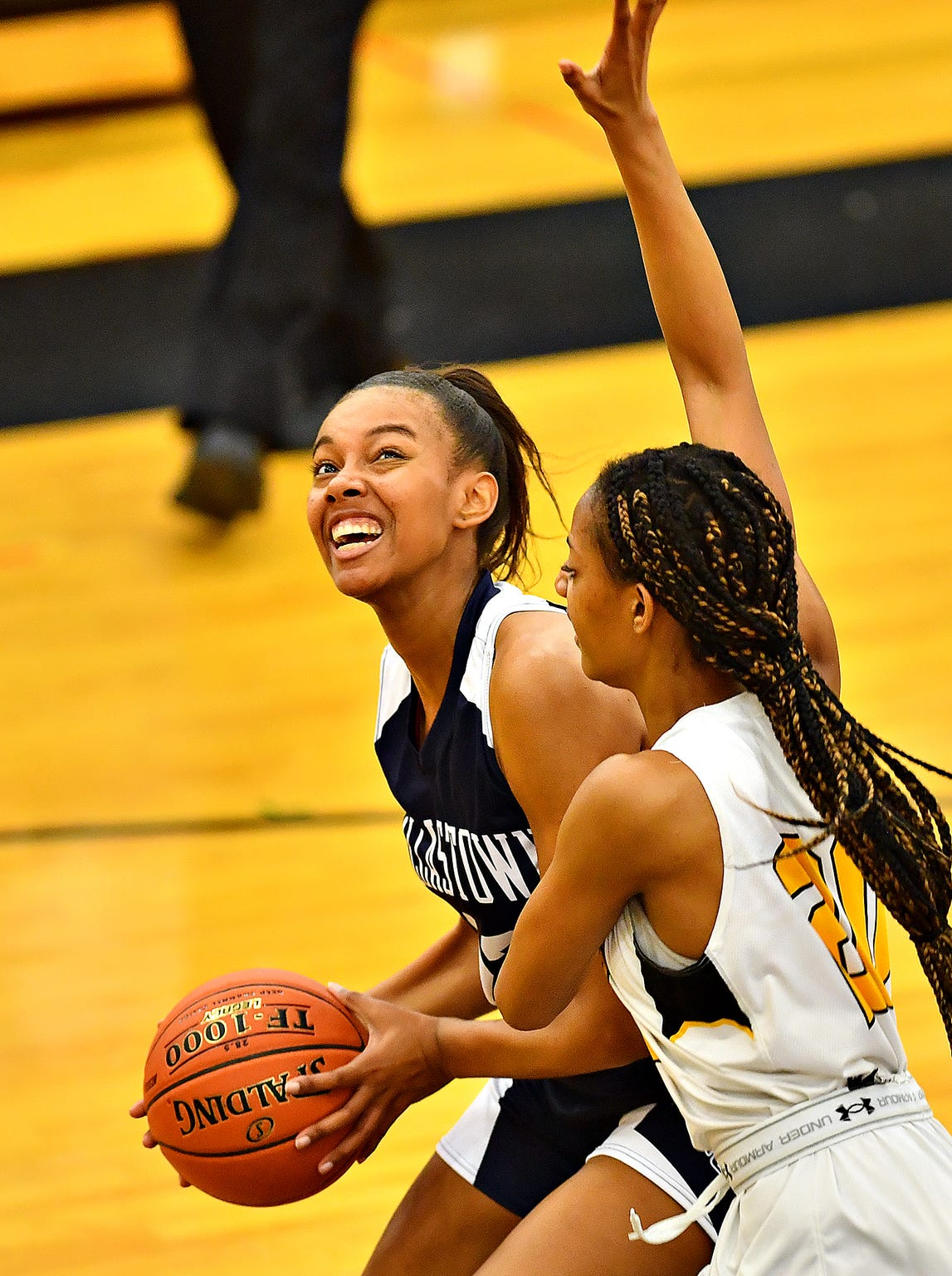 Dallastown's Aniya Matthews, left, sets her sites on the hoop while Red Lion's Makiah Shaw defends during basketball action at Red Lion Area Senior High School in Red Lion, Wednesday, Jan. 8, 2020. Dawn J. Sagert photo