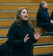 Damonte's head coach Erica McKenzie coaches from the sidelines against McQueen during Tuesday night's game at McQueen. Damonte beat McQueen, 61-51.