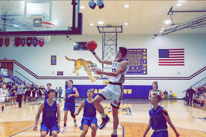 Hagerstown's Logan Hinton (22) is averaging 20.9 points, 8.3 rebounds per game and returns to action this weekend after a two-game suspension.