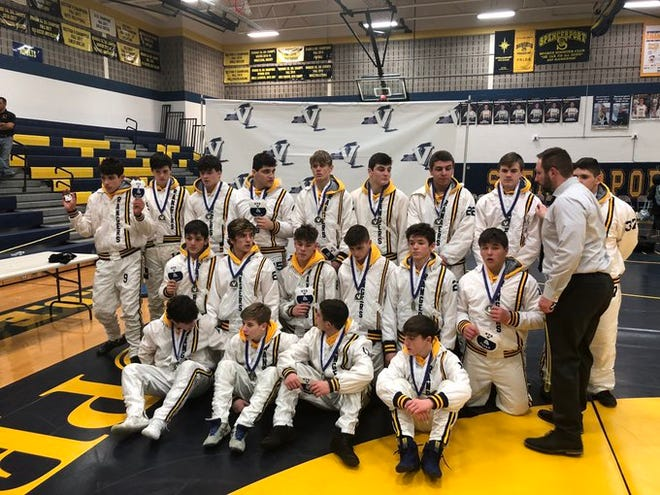 The Spencerport Rangers after regaining the Section V Dual Meet Team Championship