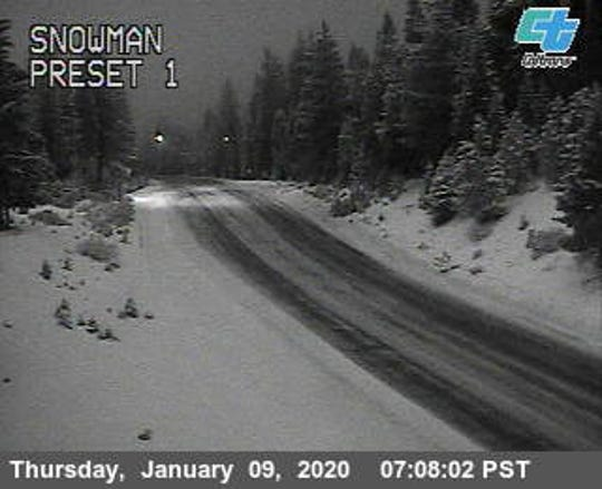 A Caltrans camera view of Highway 89 on Thursday, Jan. 9, 2019. The Mt. Shasta Ski Park got 6 inches of snow overnight.