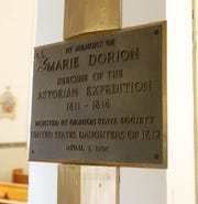 Marie Dorion plaque at St. Louis Catholic Church in Gervais