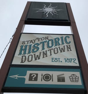 One of the few indications in Stayton of where downtown is located is this sign on Third Street and Washington.