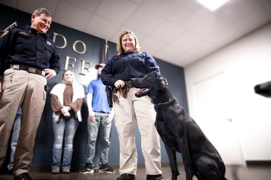 Caddo Sheriff's K-9 Rougie meets his partner, Senior Deputy Maggie Boykin, on Thursday, Jan. 9, 2020.