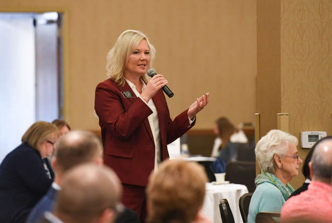 Sen. Kris Langer speaks at a breakfast hosted by the Chamber of Commerce on Thursday, Jan. 9, at the Best Western Plus Ramkota Hotel in Sioux Falls.