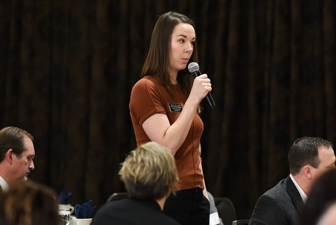 Rep. Kelly Sullivan speaks at a breakfast hosted by the Chamber of Commerce on Thursday, Jan. 9, at the Best Western Plus Ramkota Hotel in Sioux Falls.