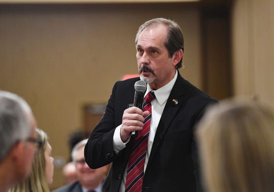 Rep. Steven Haugaard speaks at a breakfast hosted by the Chamber of Commerce on Thursday, Jan. 9, at the Best Western Plus Ramkota Hotel in Sioux Falls.