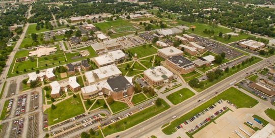 An aerial photo of the Evangel University campus.
