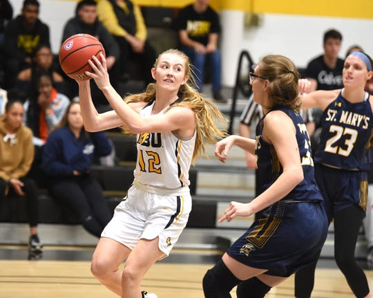 Mary Baldwin's Hannah Varner looks to pass in a non-conference win over St. Mary's Wednesday, Jan. 8 in Staunton.