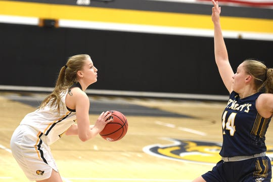 Sara Moore, a 2019 Riverheads graduate, looks for a shot Wednesday, Jan. 8, in her first game with Mary Baldwin University.