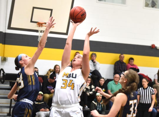 Mary Baldwin's Nicole Mallon had 17 points in a non-conference win over St. Mary's Wednesday, Jan. 8 in Staunton.
