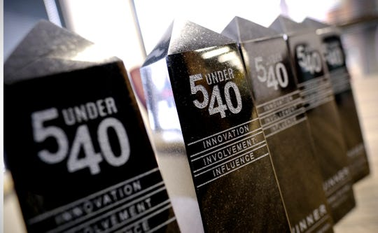 Trophies for 5 Under 40 winners are pictured Thursday, Jan. 9, 2020, in St. Cloud.