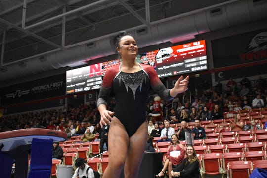 SUU's Karley McClain was the best gymnast on the floor in the T-Birds meets against Nebraska.