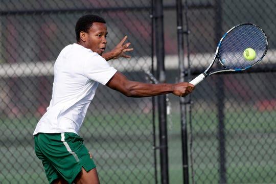 Florida A&M University men's tennis player Rodney Sturgis plays five singles against the University of Louisiana Thursday, Jan. 9, 2020.
