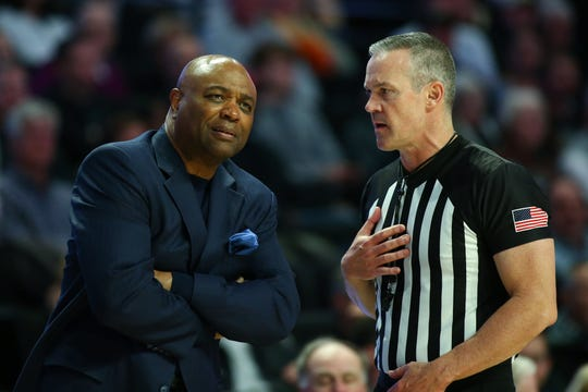 Jan 8, 2020; Winston-Salem, North Carolina, USA; Florida State Seminoles head coach Leonard Hamilton gets an explanation from a referee during the first half against the Wake Forest Demon Deacons at Lawrence Joel Veterans Memorial Coliseum. Mandatory Credit: Jeremy Brevard-USA TODAY Sports
