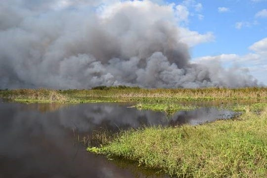 The St. Johns River Water Management District conducted a 1,300 acre controlled burn at the Fellsmere Water Management Area Thursday, Jan. 9, 2020.